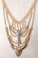All Fleur You Gold Rhinestone Layered Statement Necklace 2