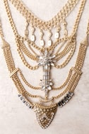 All Fleur You Gold Rhinestone Layered Statement Necklace 3