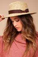 Rhythm Coast Brown and Beige Straw Hat 1