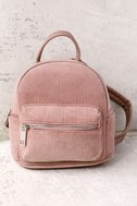 Baby Got Back-Pack Mauve Pink Corduroy Mini Backpack 2