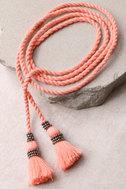 Rahi Cali Love Me Coral Pink Tassel Wrap Necklace 3