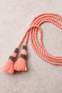 Rahi Cali Love Me Coral Pink Tassel Wrap Necklace 2