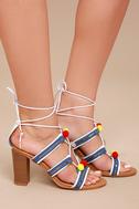Delia White Lace-Up Pompom Heels 6