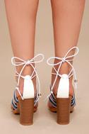 Delia White Lace-Up Pompom Heels 7