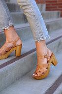 Sbicca Bianco Tan Leather Platform Heels 5
