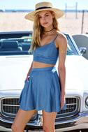 Accompany Me Blue Chambray Two-Piece Dress 9