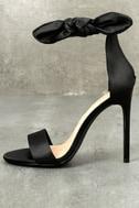 Xia Black Satin Ankle Strap Heels 1