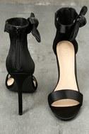 Xia Black Satin Ankle Strap Heels 3