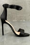 Xia Black Satin Ankle Strap Heels 2