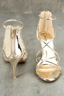 Kara Gold Patent High Heel Sandals 2