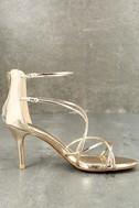 Kara Gold Patent High Heel Sandals 3
