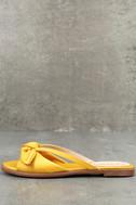 Tia Yellow Satin Slide Sandals 1