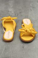 Tia Yellow Satin Slide Sandals 2