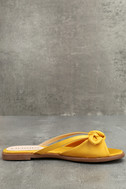 Tia Yellow Satin Slide Sandals 4