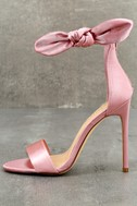 Xia Dusty Pink Satin Ankle Strap Heels 1