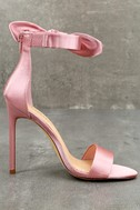 Xia Dusty Pink Satin Ankle Strap Heels 2