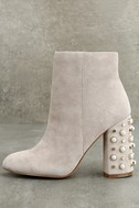 Steve Madden Yvette Taupe Suede Leather Studded Booties 1