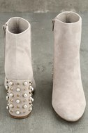 Steve Madden Yvette Taupe Suede Leather Studded Booties 4