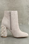 Steve Madden Yvette Taupe Suede Leather Studded Booties 3