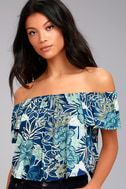 Tiki for Two Navy Blue Print Off-the-Shoulder Top 6