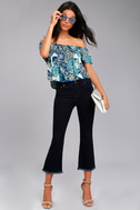 Tiki for Two Navy Blue Print Off-the-Shoulder Top 5
