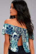Tiki for Two Navy Blue Print Off-the-Shoulder Top 7