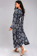 Faithfull the Brand Carioca Navy Blue Floral Print Wrap Dress 2