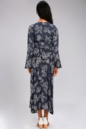 Faithfull the Brand Carioca Navy Blue Floral Print Wrap Dress 3
