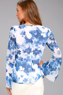 Iolana Blue and White Floral Print Long Sleeve Top 3