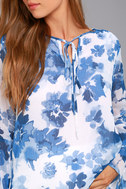 Iolana Blue and White Floral Print Long Sleeve Top 4