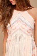 O'Neill Uli Blush Pink Print Midi Dress 5