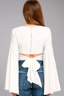 Lover's Light White Bell Sleeve Crop Top 4