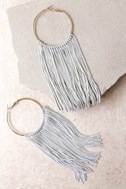 Wings of the Wind Gold and Grey Fringe Earrings 2