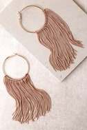 Wings of the Wind Gold and Beige Fringe Earrings 2