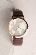 Around the World Gold and Brown Watch 3