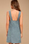 Somedays Lovin' Slate Sky Dusty Blue Suede Mini Dress 3