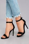 Charlize Black Satin Ankle Strap Heels 4
