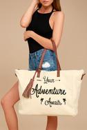 Adventure Ahead Tan and Cream Weekender 3