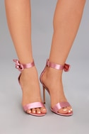 Xia Dusty Pink Satin Ankle Strap Heels 5