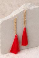 Vanessa Mooney Isla Red Silk Tassel Earrings 2