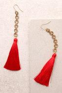 Vanessa Mooney Isla Red Silk Tassel Earrings 1