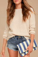 Maui Blue and White Striped Clutch 1
