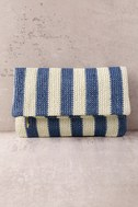 Maui Blue and White Striped Clutch 2