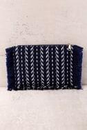 Feel it Still Navy Blue Woven Clutch 2