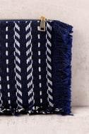 Feel it Still Navy Blue Woven Clutch 3