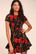 Sweet Talking Black Floral Print Sheath Dress 3