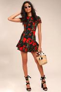 Sweet Talking Black Floral Print Sheath Dress 2