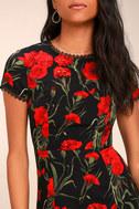 Sweet Talking Black Floral Print Sheath Dress 5