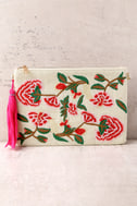Abloom Light Beige Embroidered Clutch 2
