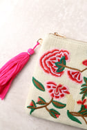 Abloom Light Beige Embroidered Clutch 4